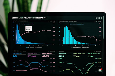 statistical graphs on a laptop screen