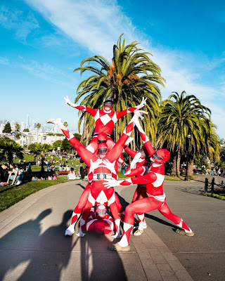 red Power Rangers in a park